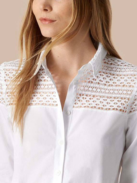 White Macramé Lace Detail Cotton Shirt - cell image 3