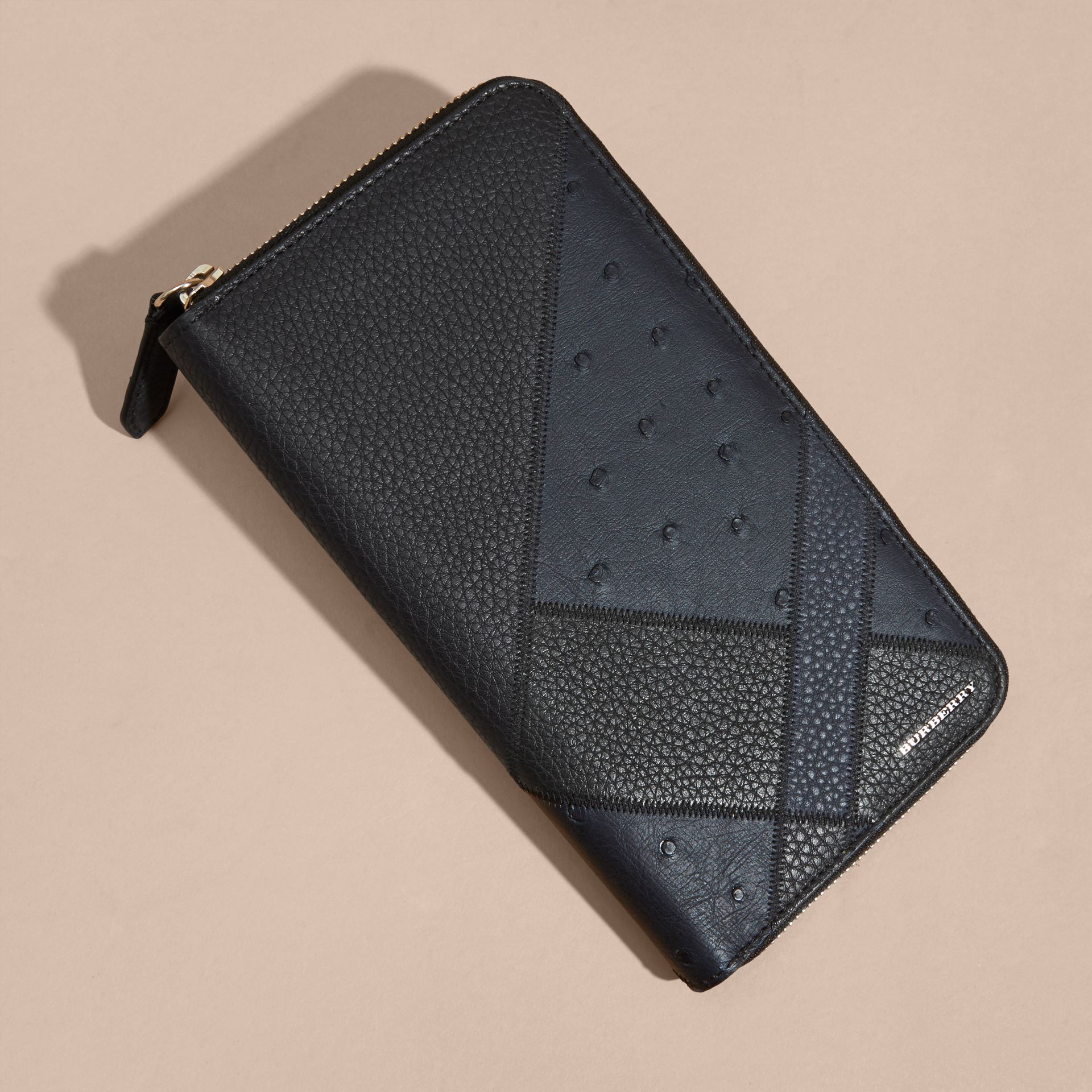 Dark navy Grainy and Ostrich Leather Ziparound Wallet - gallery image 3