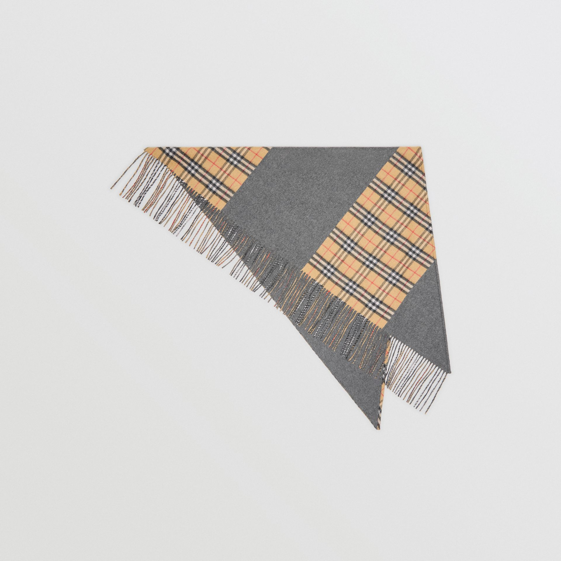 The Burberry Bandana in Vintage Check Cashmere in Pewter Grey | Burberry - gallery image 0
