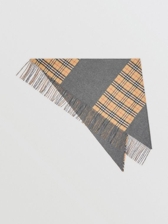The Burberry Bandana in Vintage Check Cashmere in Pewter Grey