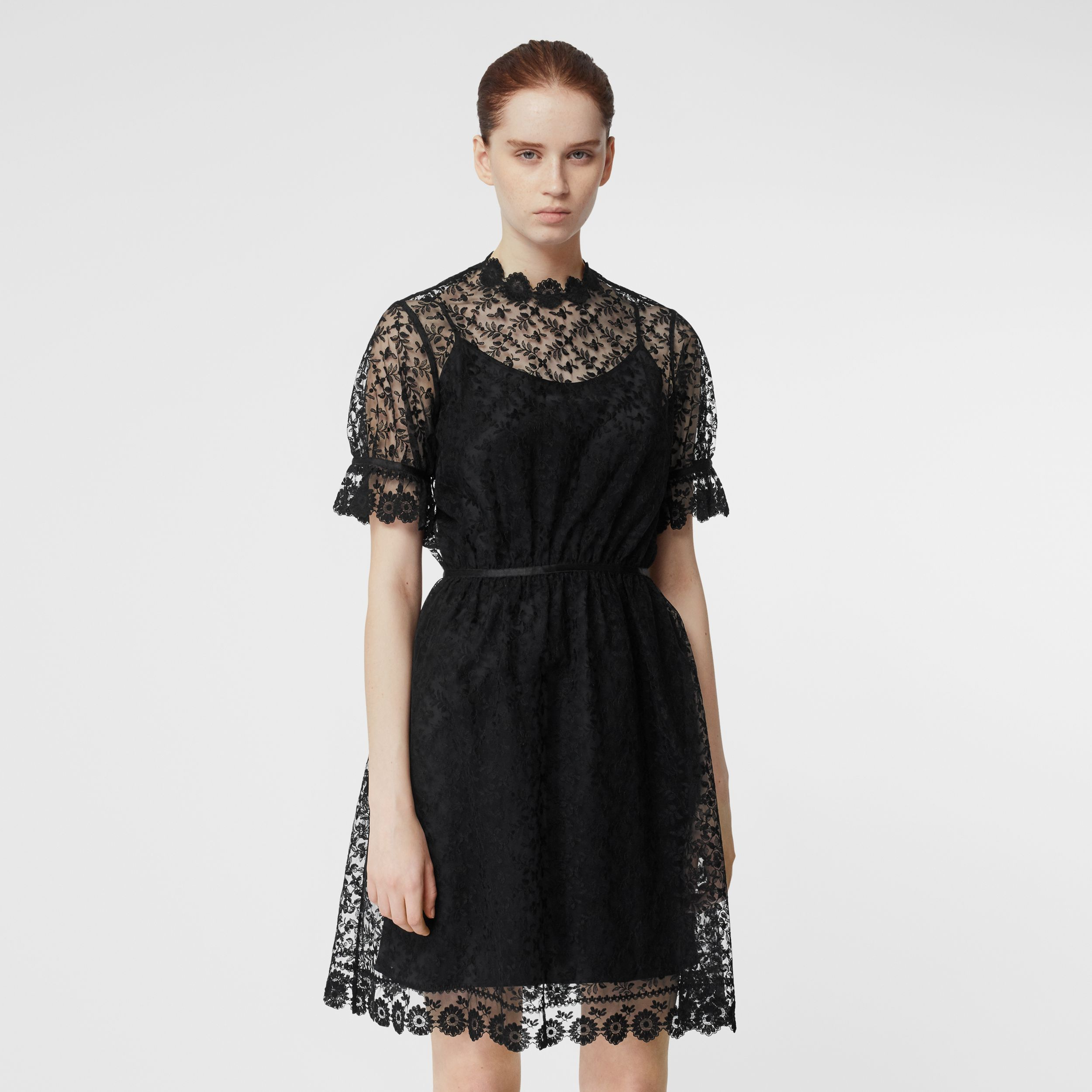 Floral Embroidered Tulle Dress in Black | Burberry - 1