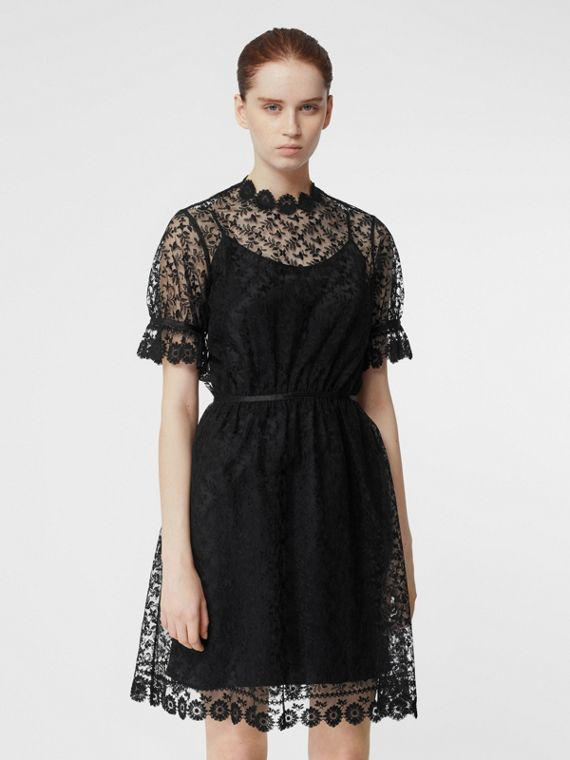 bf6fb15acfe Floral Embroidered Tulle Dress in Black