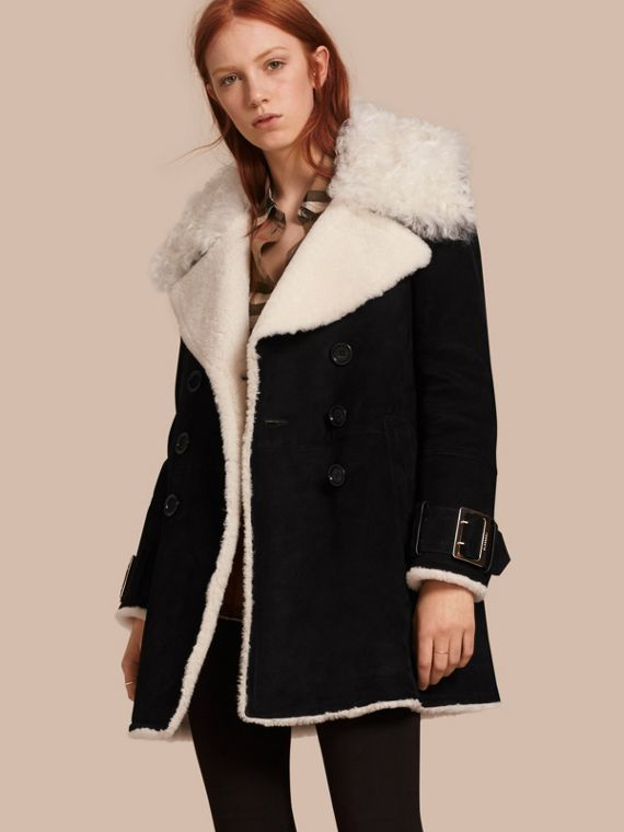 Double-breasted Suede and Shearling Coat