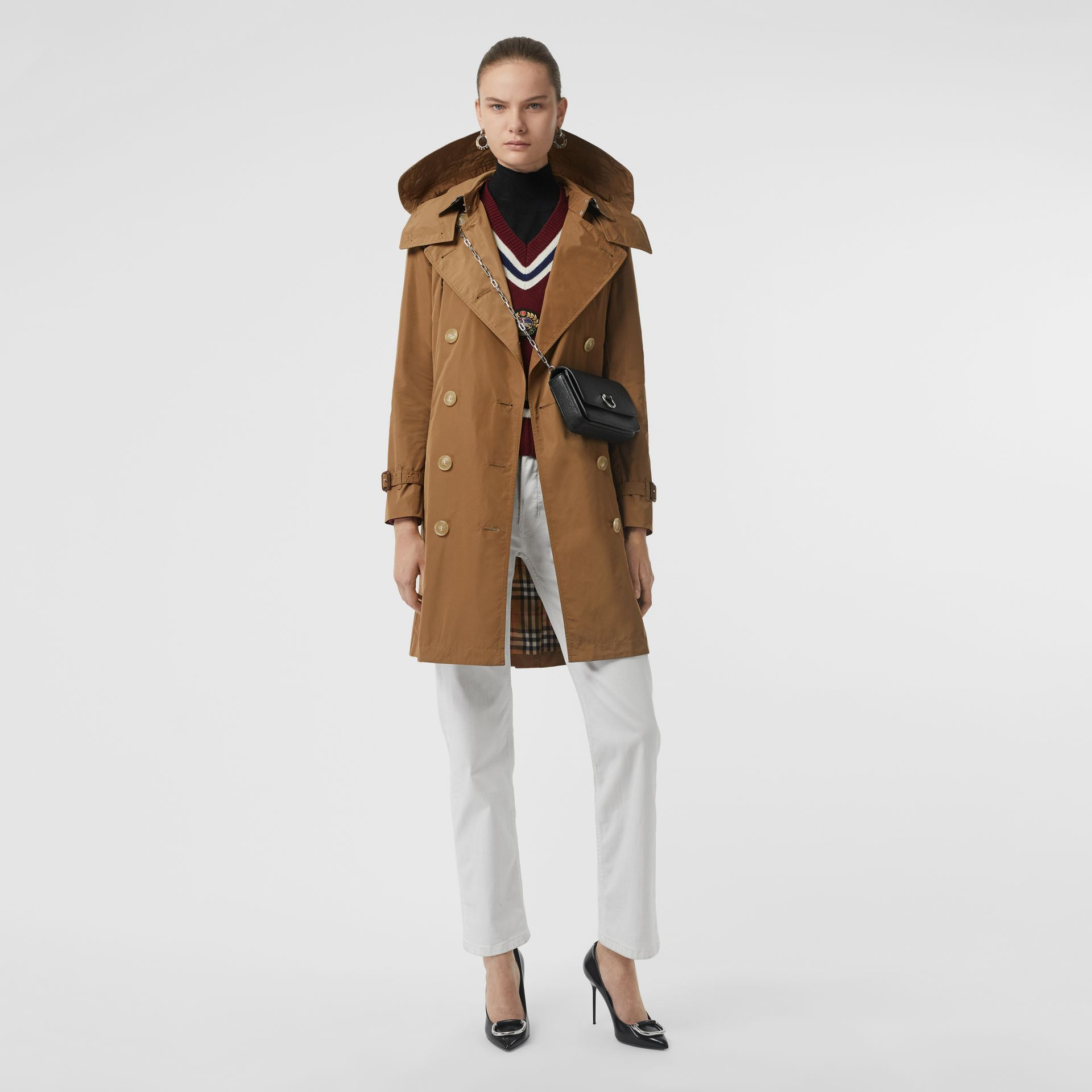 Detachable Hood Taffeta Trench Coat in Camel - Women | Burberry - gallery image 0