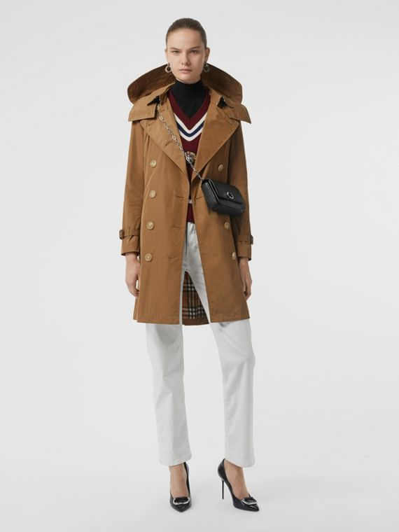 Detachable Hood Taffeta Trench Coat in Camel