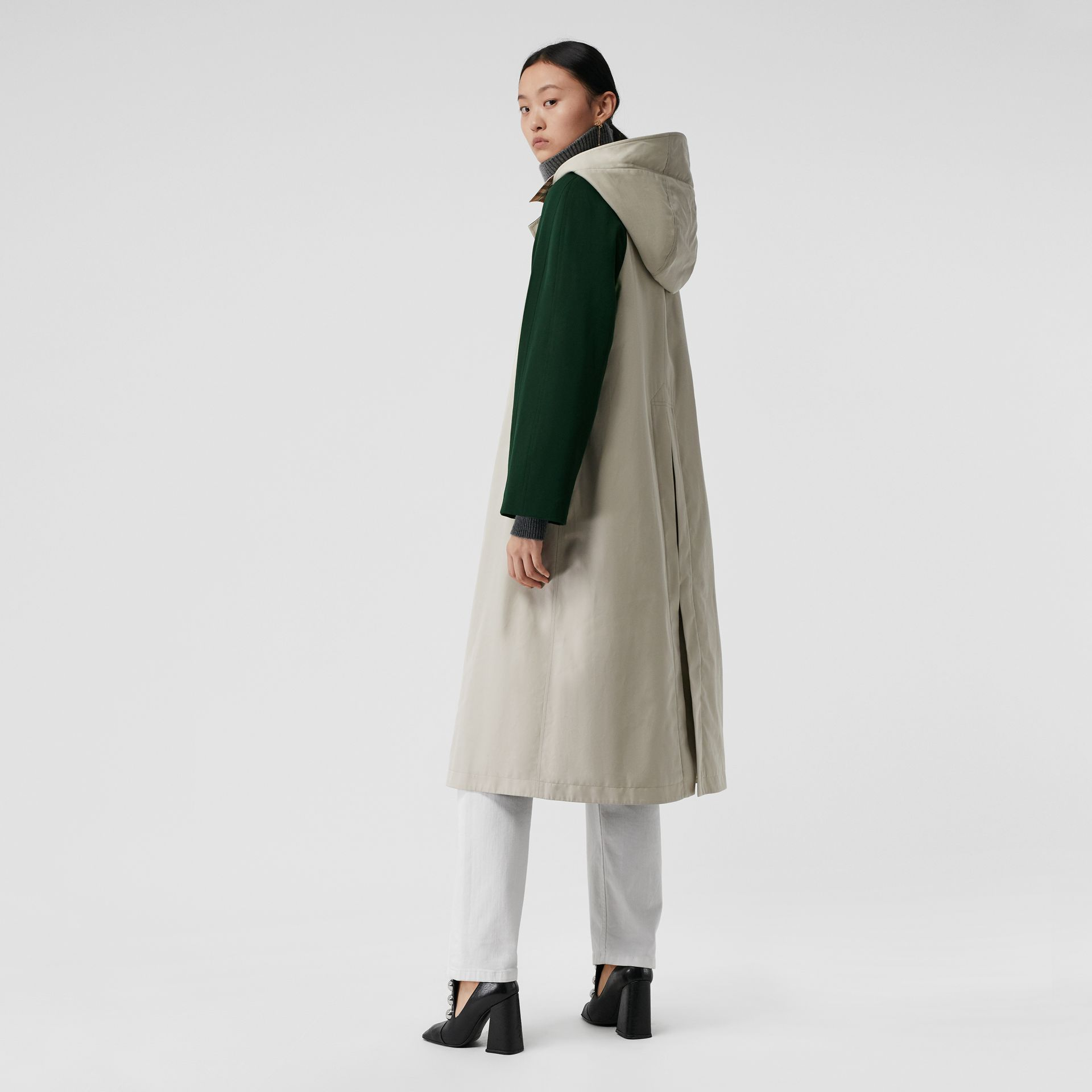 Detachable Hood Wool and Cotton Gabardine Car Coat in Stone - Women | Burberry United Kingdom - gallery image 2