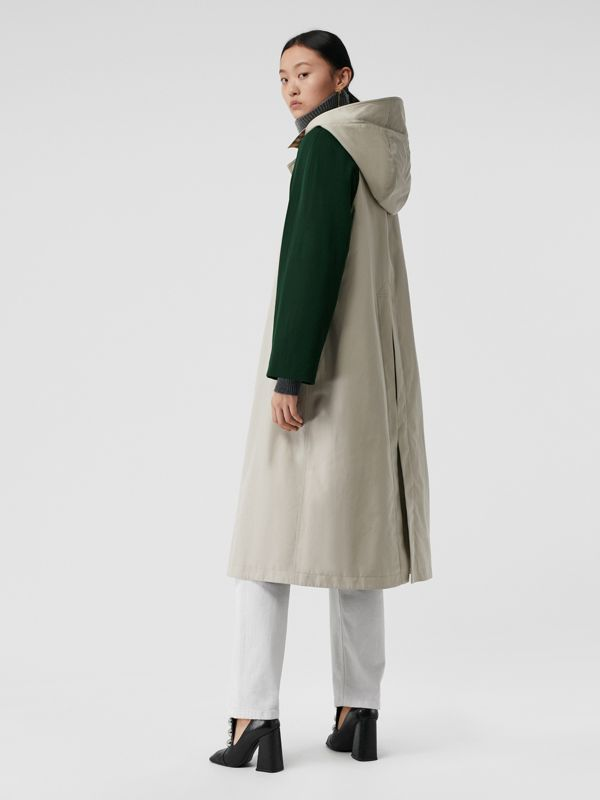 Detachable Hood Wool and Cotton Gabardine Car Coat in Stone - Women | Burberry Singapore - cell image 2