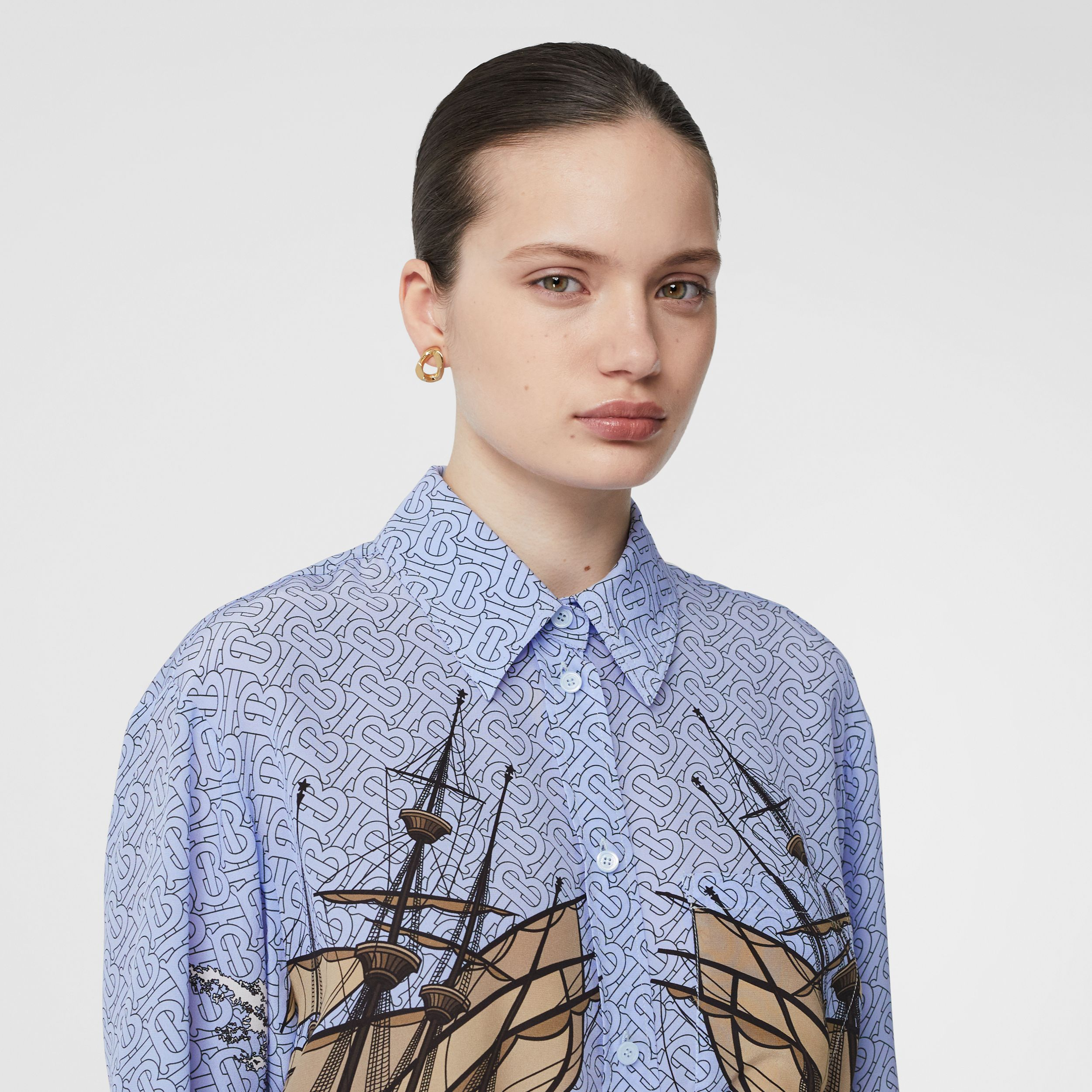 Ship Print Silk Oversized Shirt in Baby Blue - Women | Burberry - 2