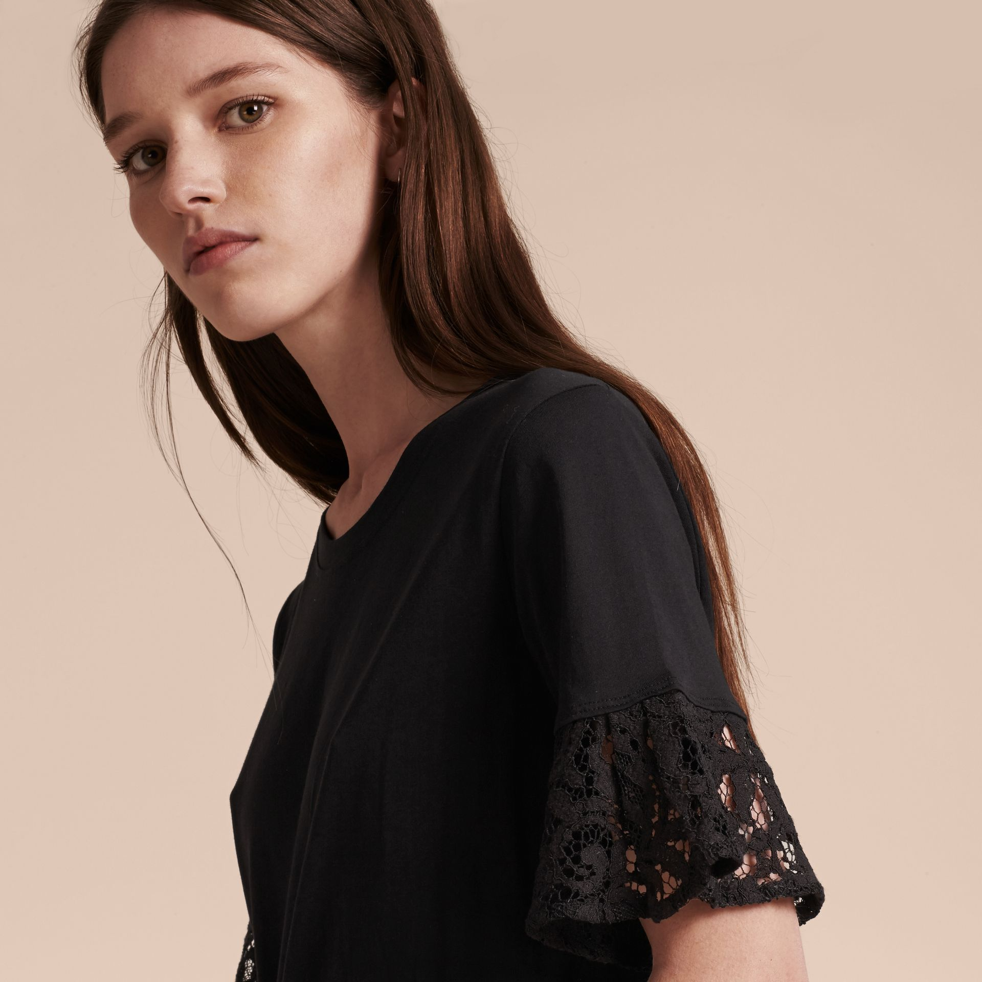 Black Lace Trim Cotton T-shirt Black - gallery image 5