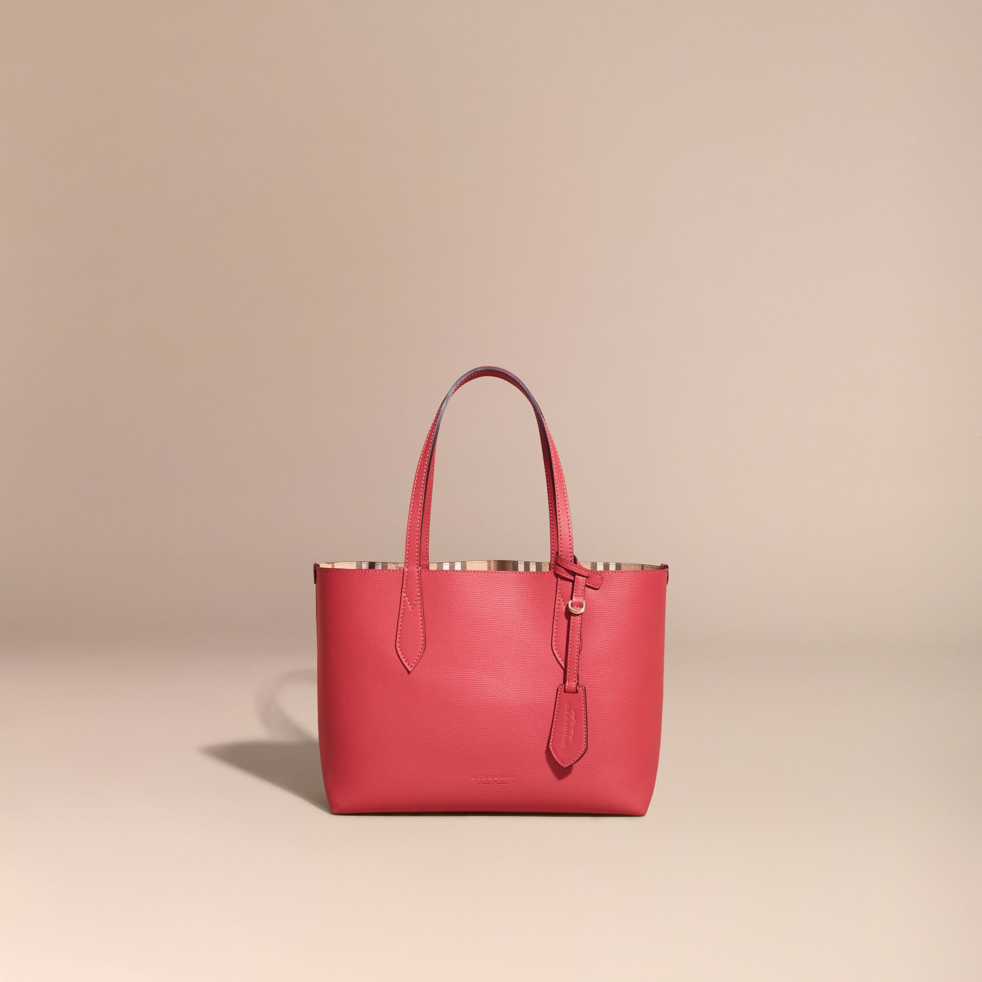 The Small Reversible Tote in Haymarket Check and Leather Coral Red - gallery image 8