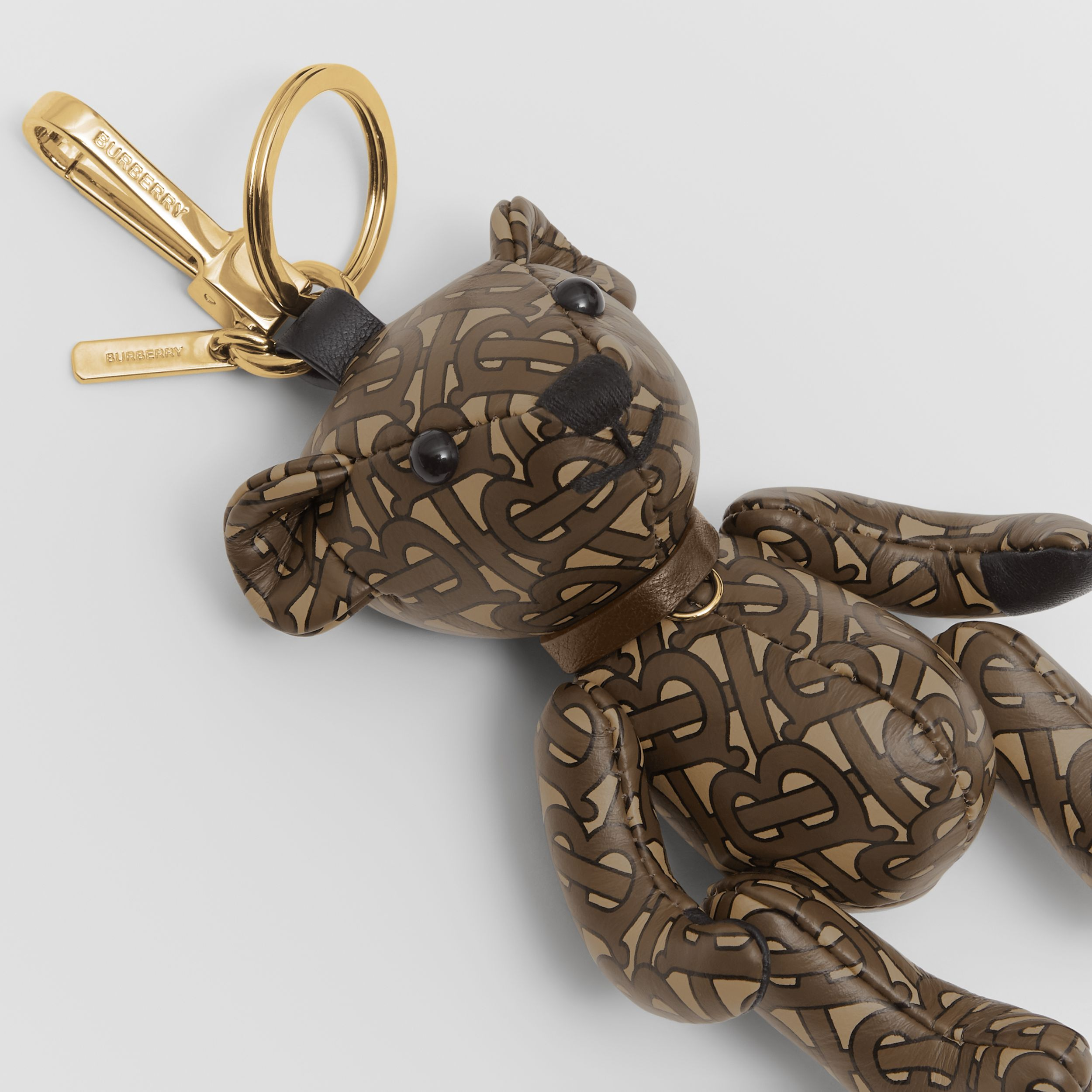 Thomas Bear Charm in Monogram Print Leather in Bridle Brown | Burberry - 2