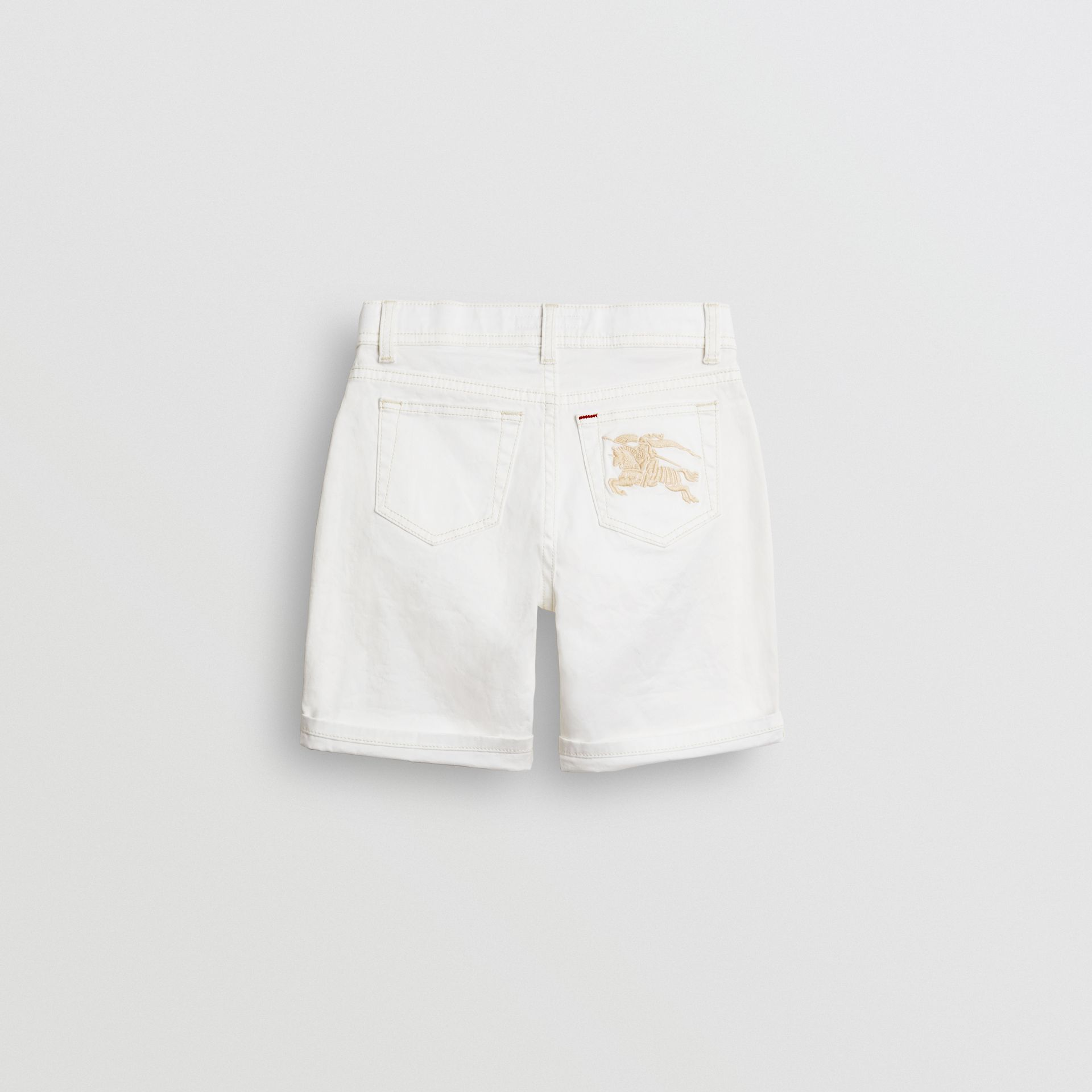 Relaxed Fit Stretch Denim Shorts in White - Girl | Burberry - gallery image 3