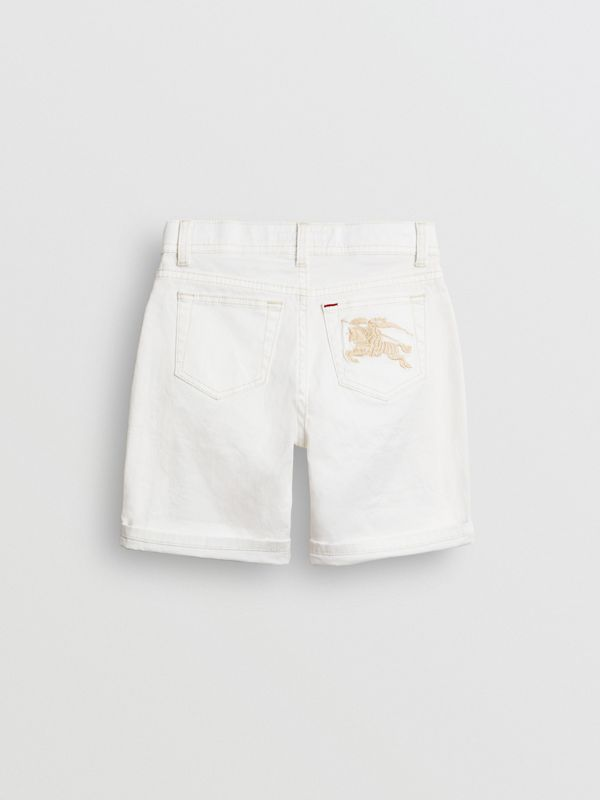 Relaxed Fit Stretch Denim Shorts in White - Girl | Burberry - cell image 3