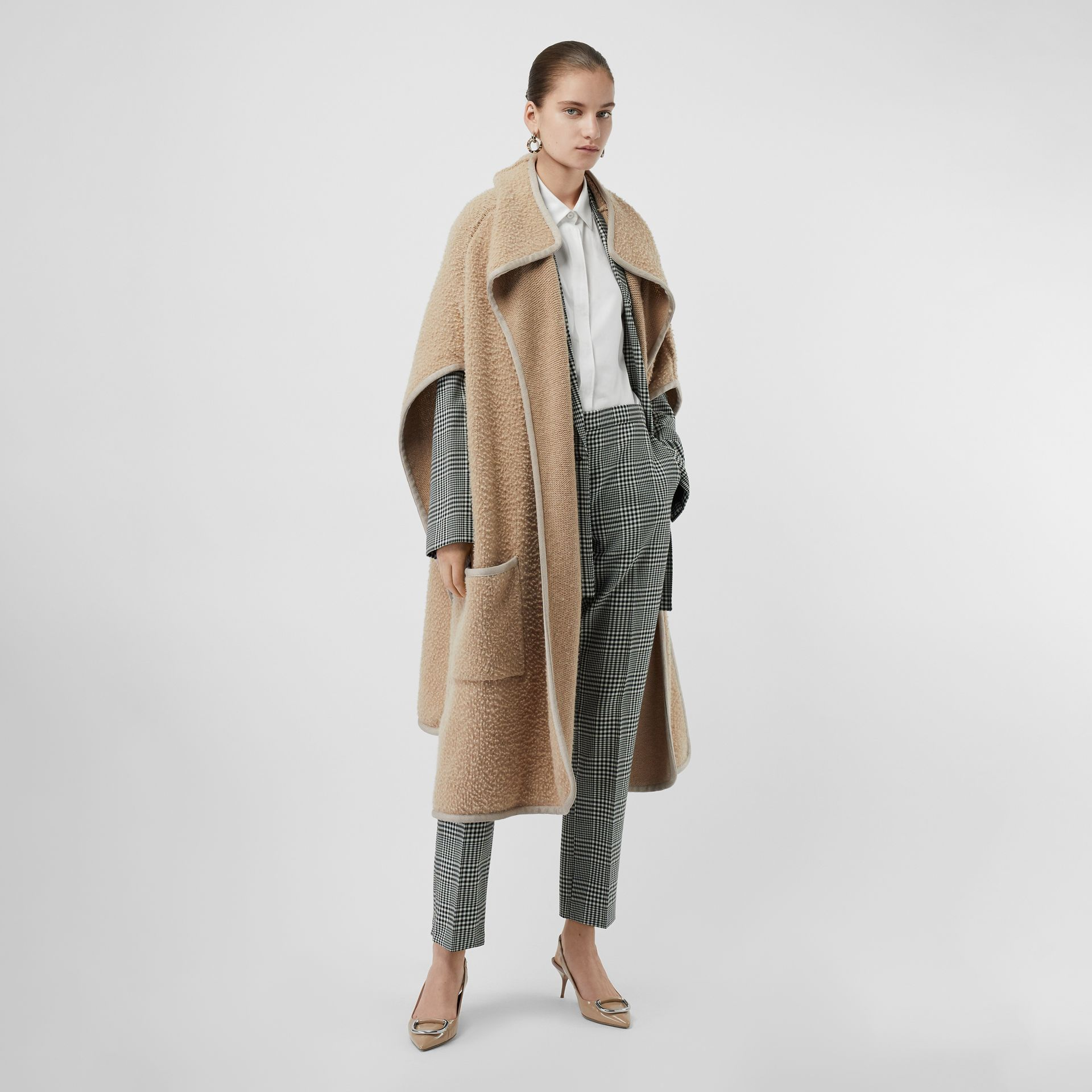 Wool Fleece Cape in Sand - Women | Burberry - gallery image 0