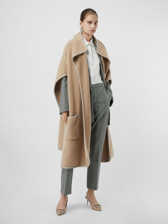 Wool Fleece Cape in Sand