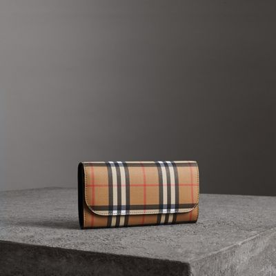Vintage Check Continental Wallet With Zip Card Case in Brown from FRMODA