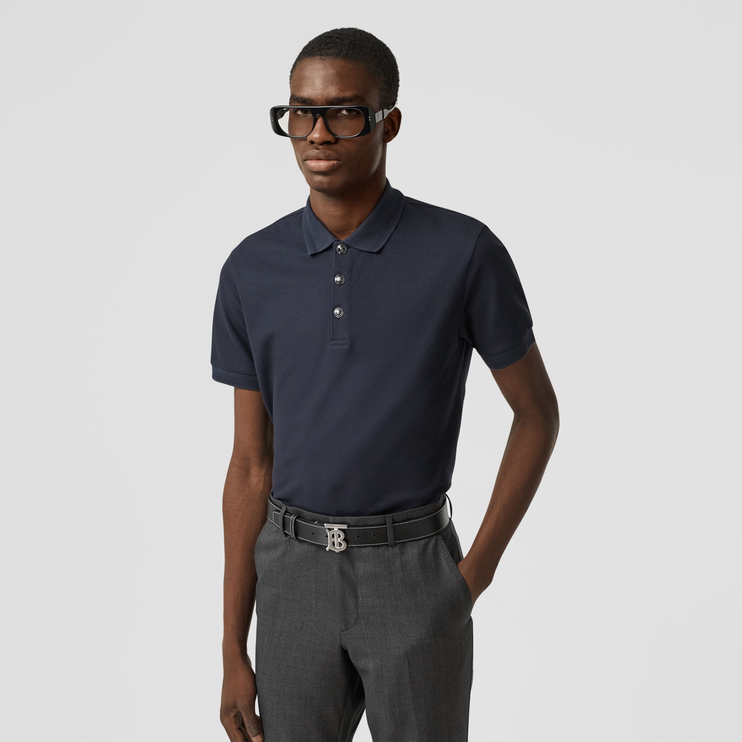 Cotton Piqué Polo Shirt in Navy - Men | Burberry - 1