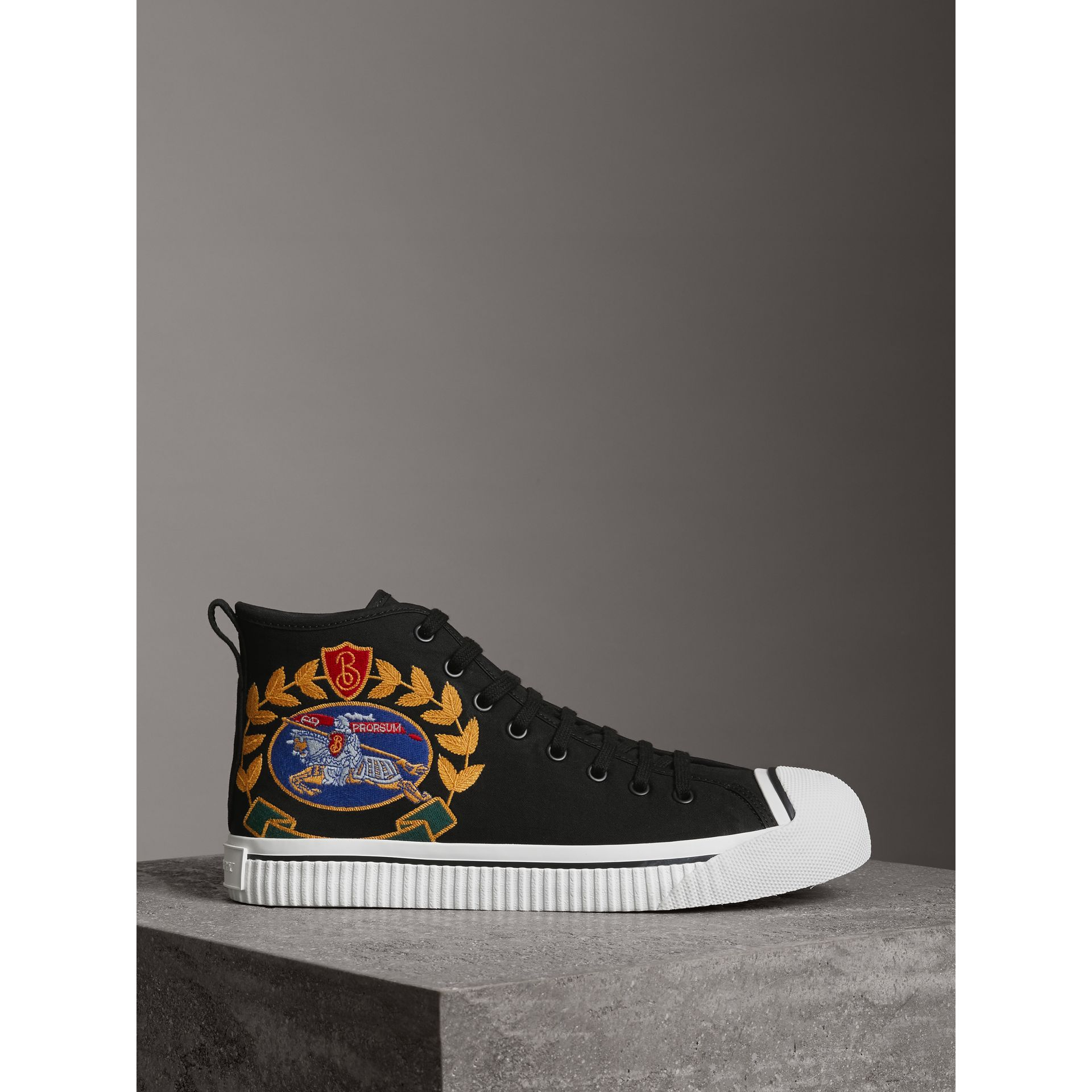 Archive Logo Cotton Gabardine High-top Sneakers in Black - Men | Burberry - gallery image 4