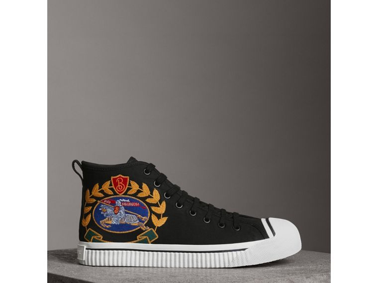 Archive Logo Cotton Gabardine High-top Sneakers in Black - Men | Burberry - cell image 4