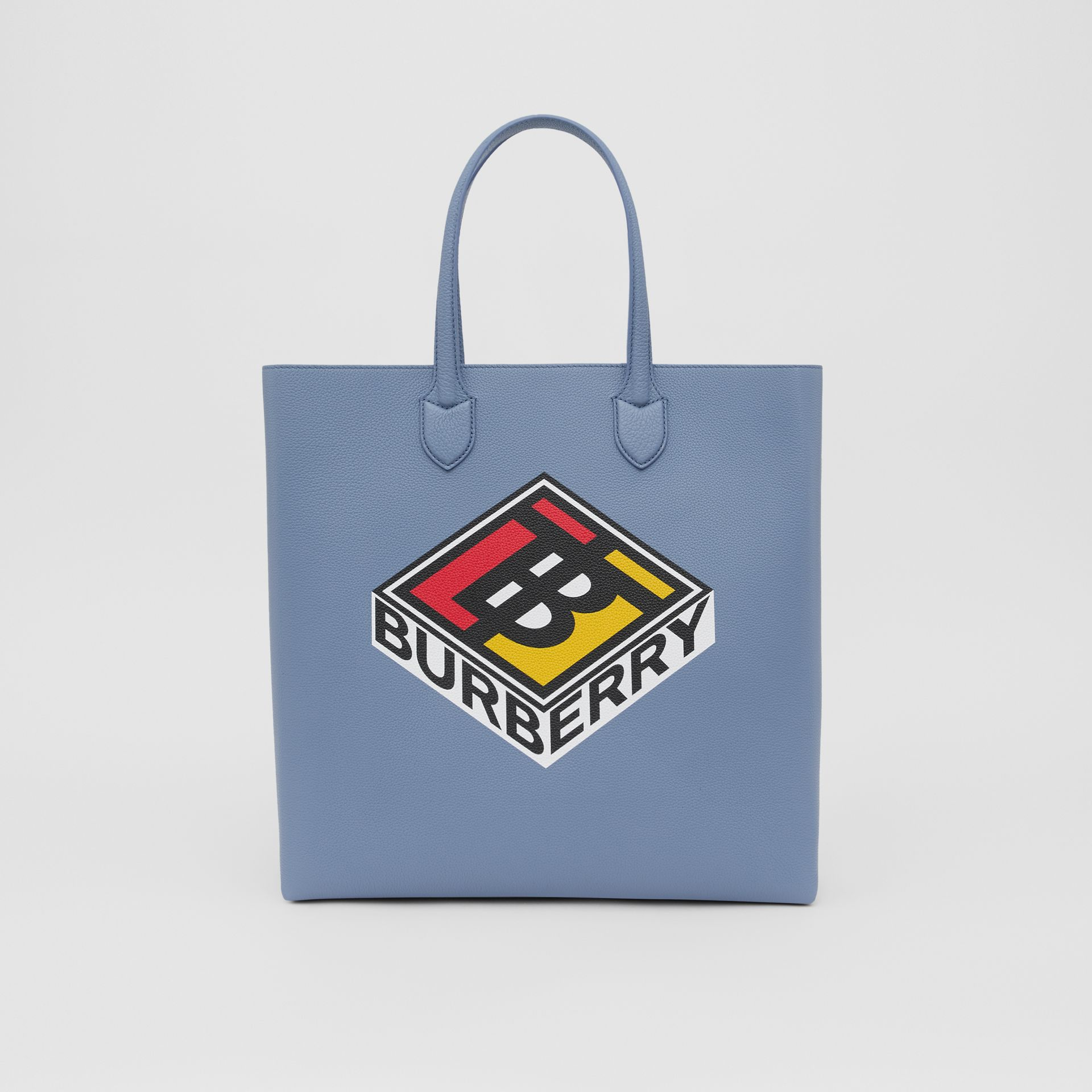 Large Logo Graphic Grainy Leather Tote in Baby Blue - Men | Burberry - gallery image 0