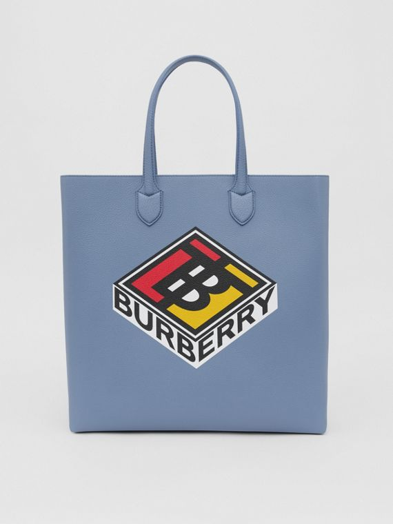 Large Logo Graphic Grainy Leather Tote in Baby Blue
