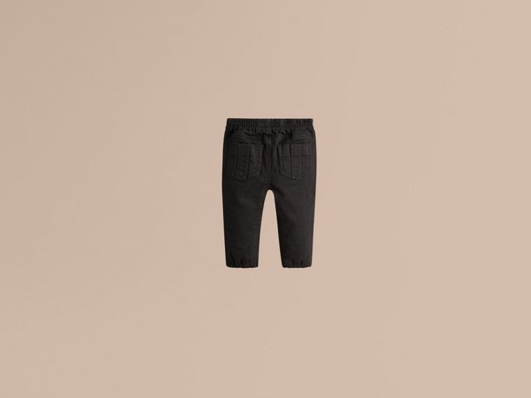 Stretch Denim Leggings in Black - Girl | Burberry - cell image 1