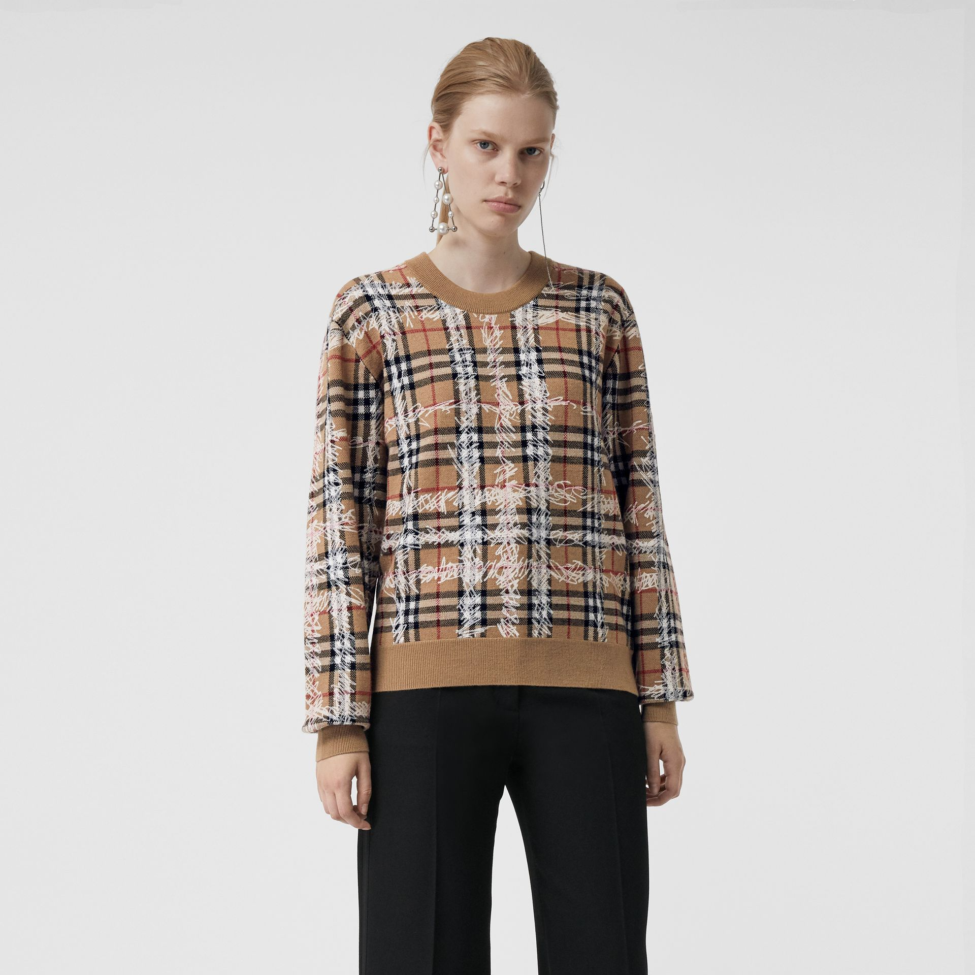 Scribble Check Merino Wool Sweater in Camel/white - Women | Burberry - gallery image 4
