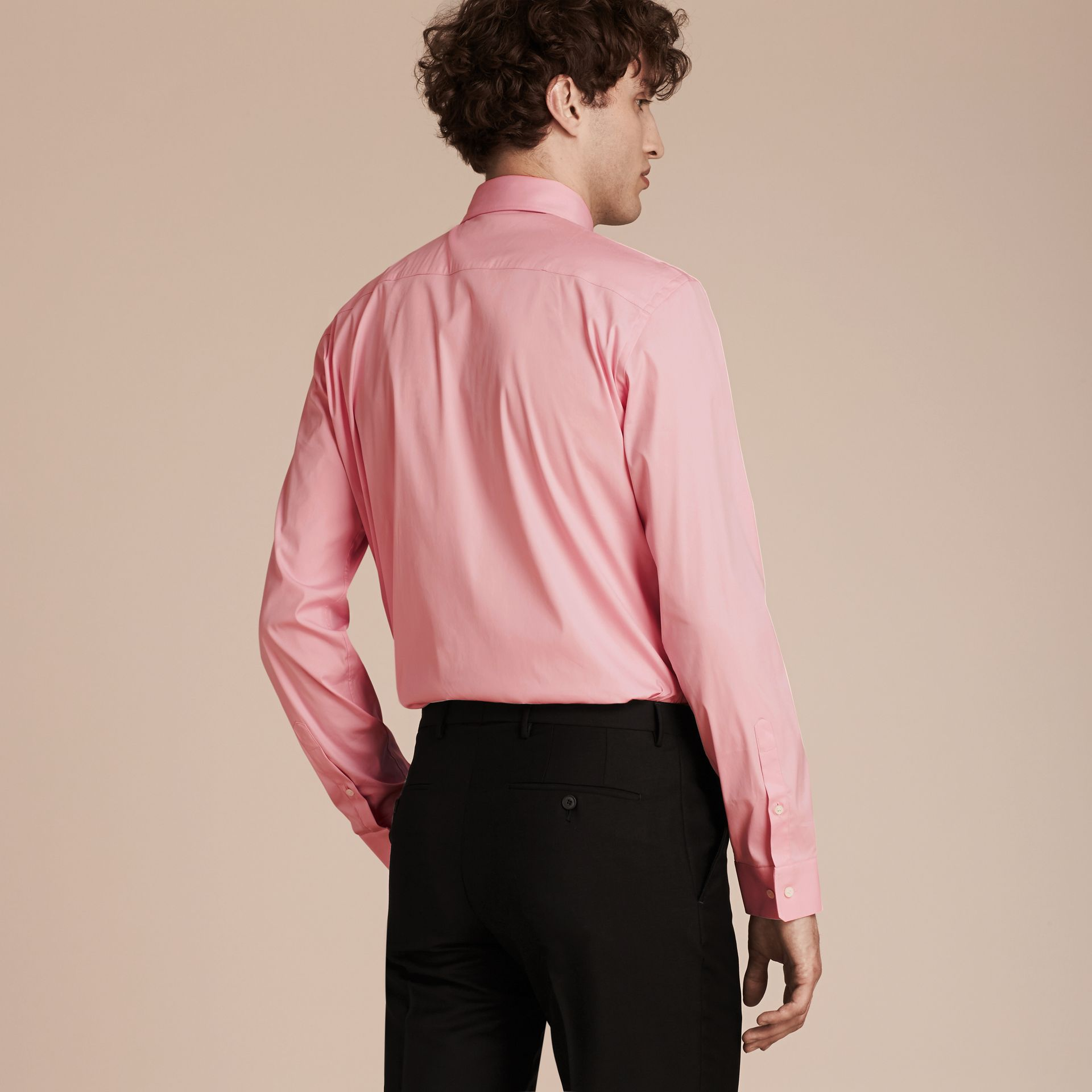 Modern Fit Stretch Cotton Shirt in City Pink - gallery image 3