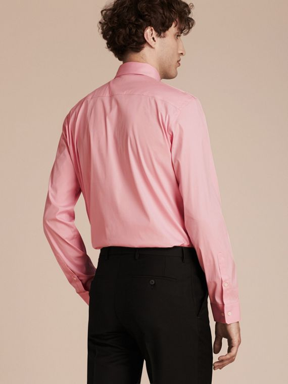 Modern Fit Stretch Cotton Shirt in City Pink - cell image 2