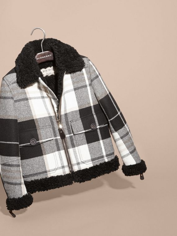 Nero Giacca da aviatore in lana con motivo tartan e finiture in shearling - cell image 2
