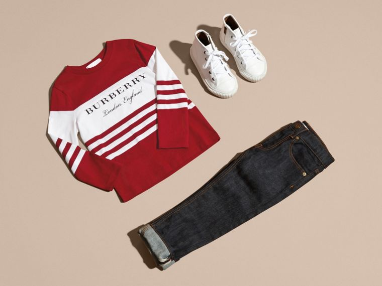 Parade red Long-sleeved Striped Cotton T-shirt Parade Red - cell image 4