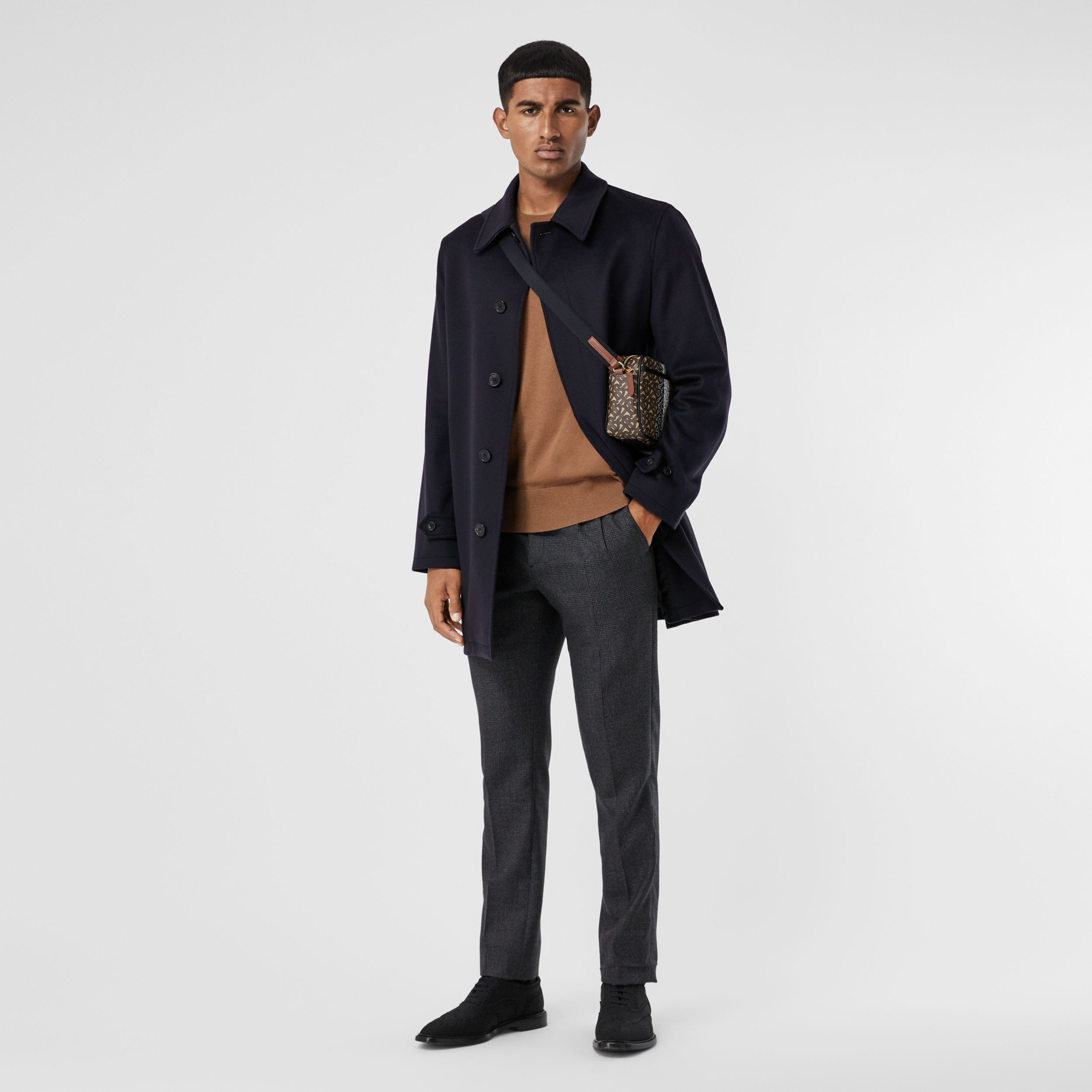 Wool Cashmere Car Coat in Navy - Men | Burberry United Kingdom - 1