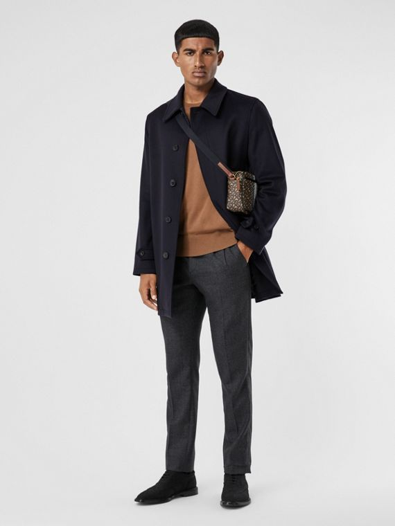 Wool Cashmere Car Coat in Navy