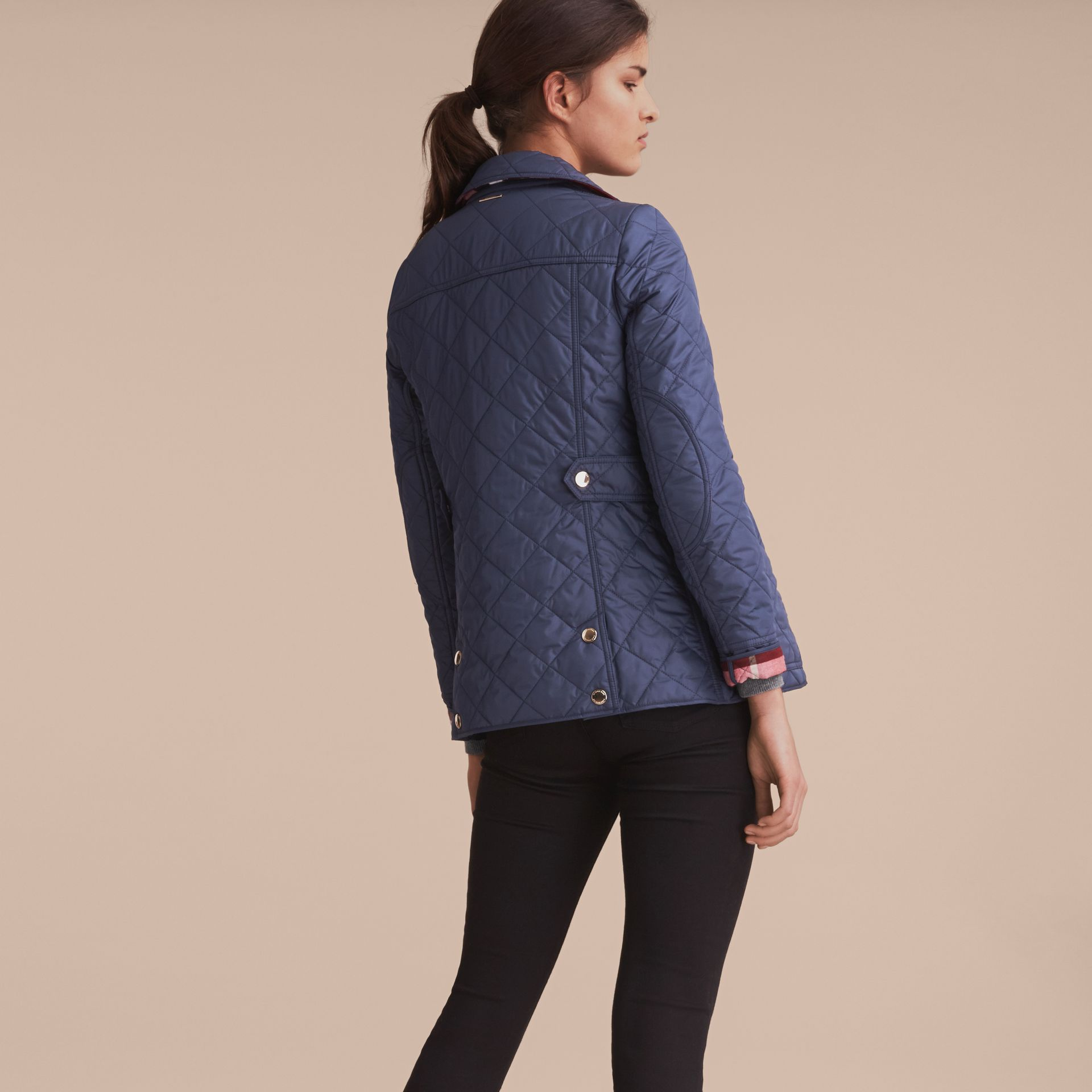 Check Detail Diamond Quilted Jacket in Navy - gallery image 3