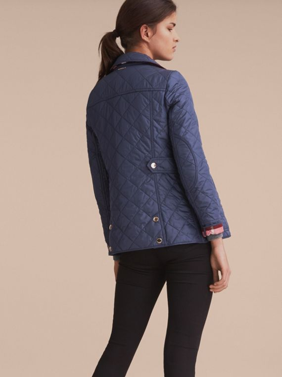 Check Detail Diamond Quilted Jacket in Navy - cell image 2