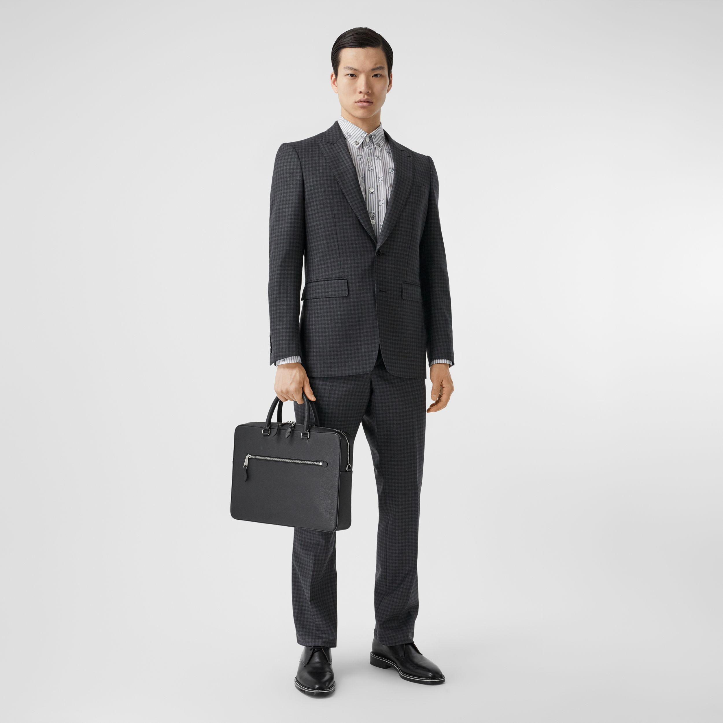 English Fit Gingham Wool Suit in Charcoal - Men | Burberry - 1