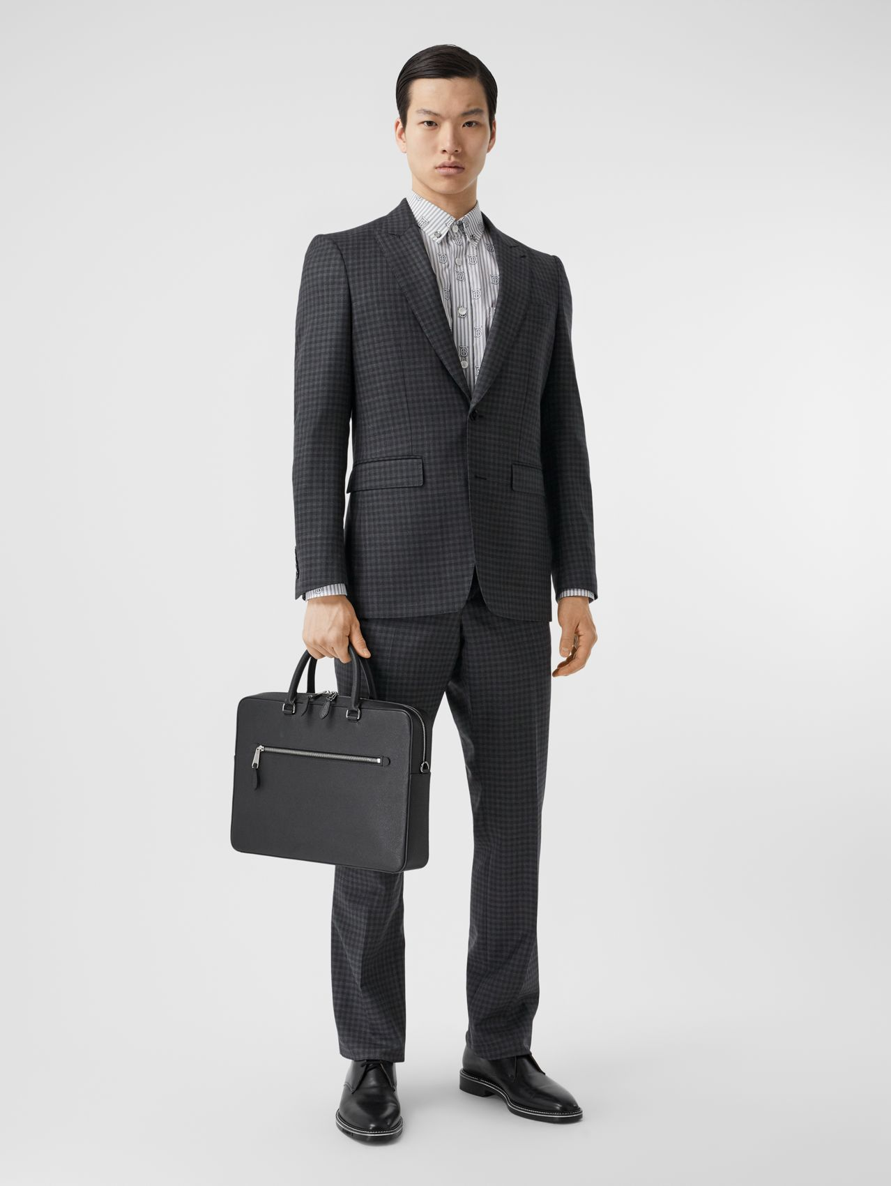 English Fit Gingham Wool Suit in Charcoal