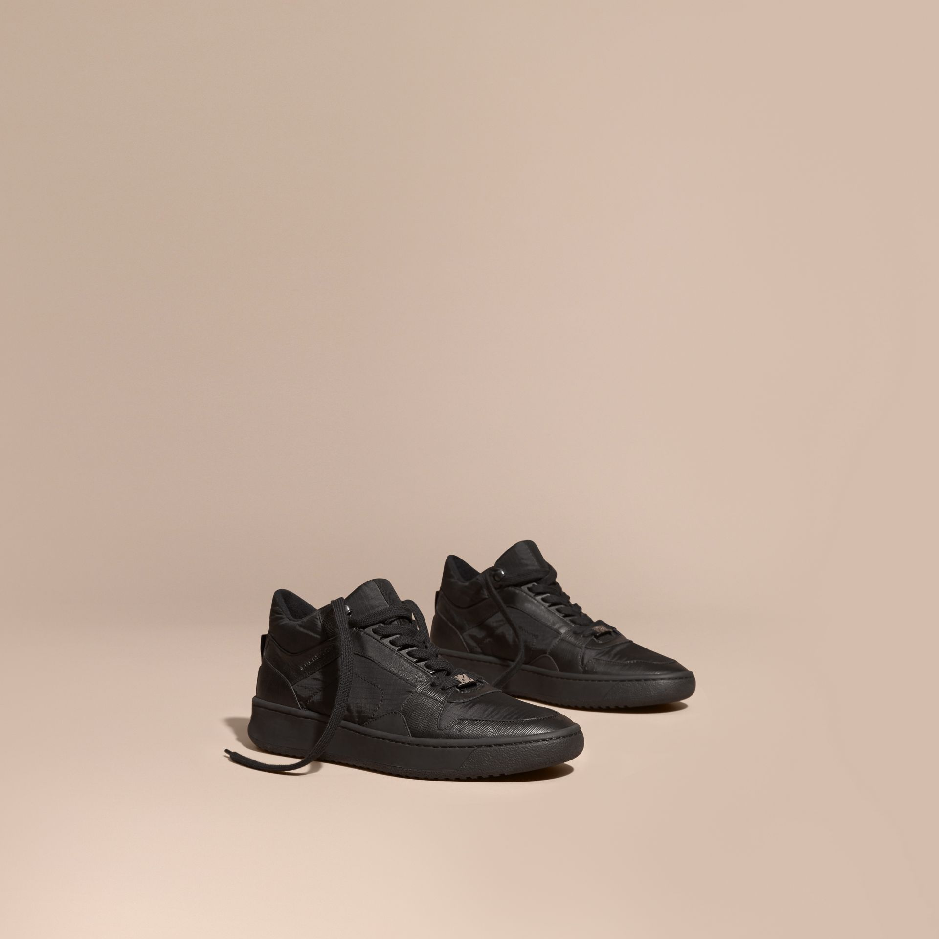Black Ripstop and Leather Trainers - gallery image 1