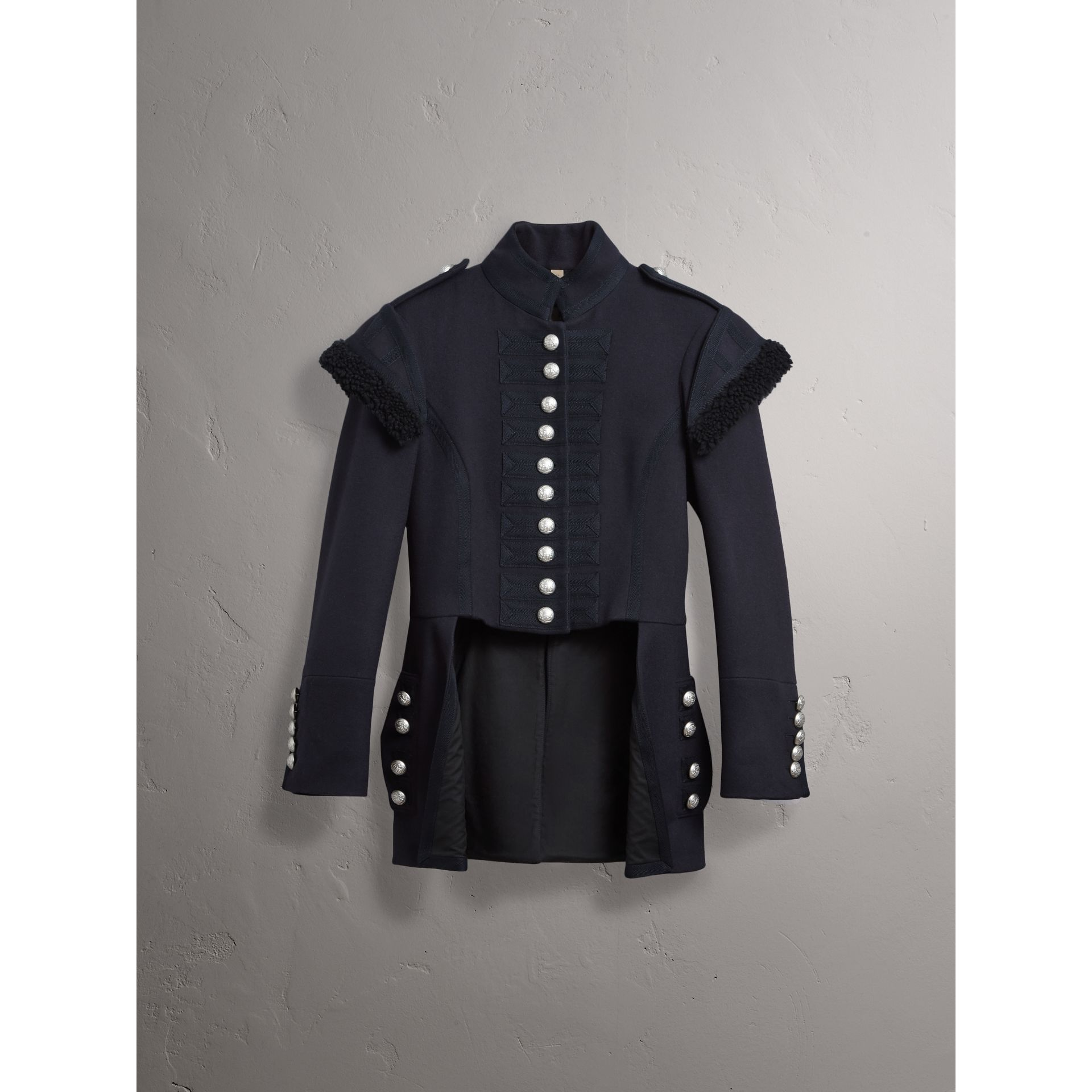 Shearling Trim Wool Blend Regimental Jacket in True Navy - Women | Burberry - gallery image 4