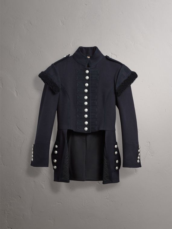 Shearling Trim Wool Blend Regimental Jacket in True Navy - Women | Burberry - cell image 3