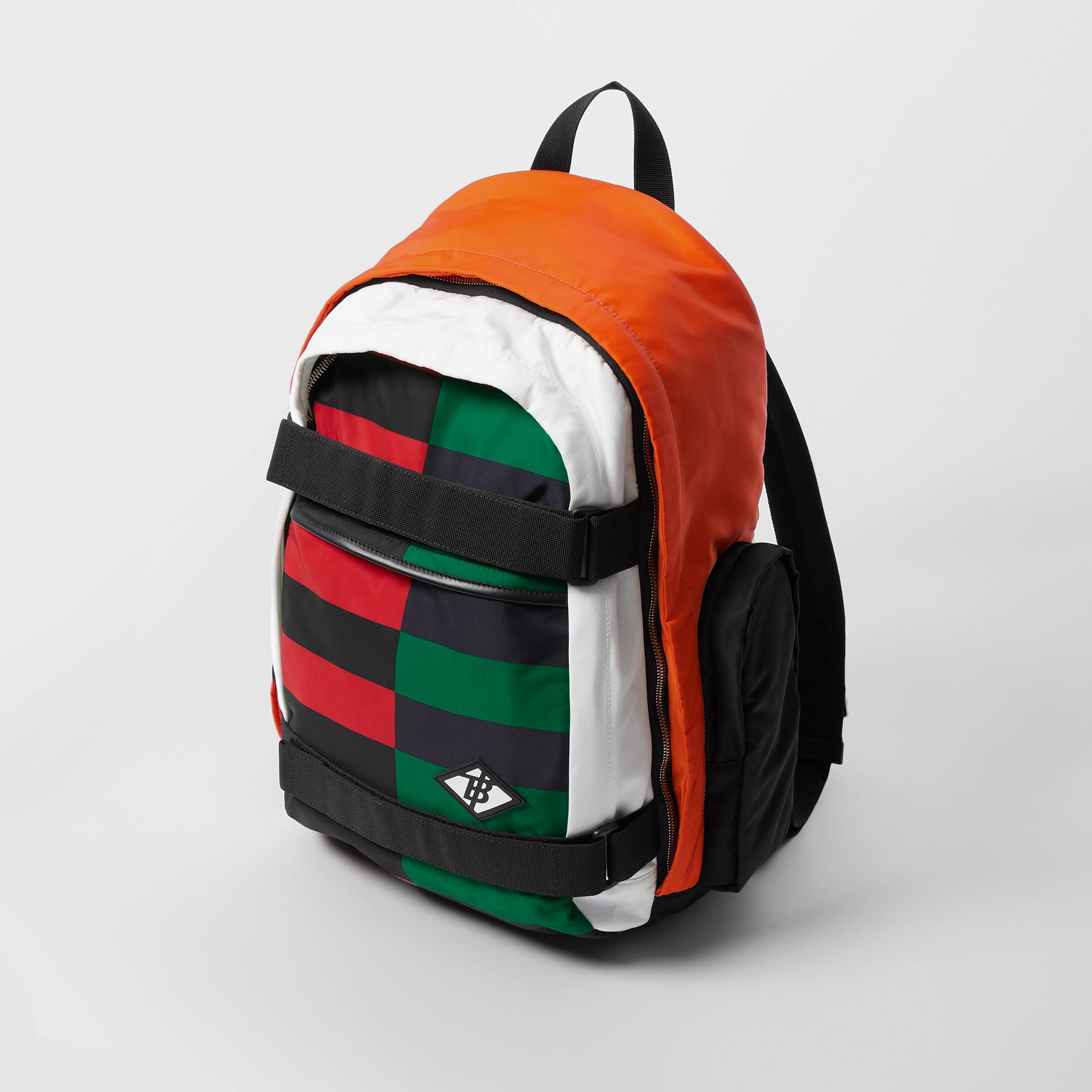Large Colour Block ECONYL® Nevis Backpack in Military Red/green | Burberry United Kingdom - gallery image 4