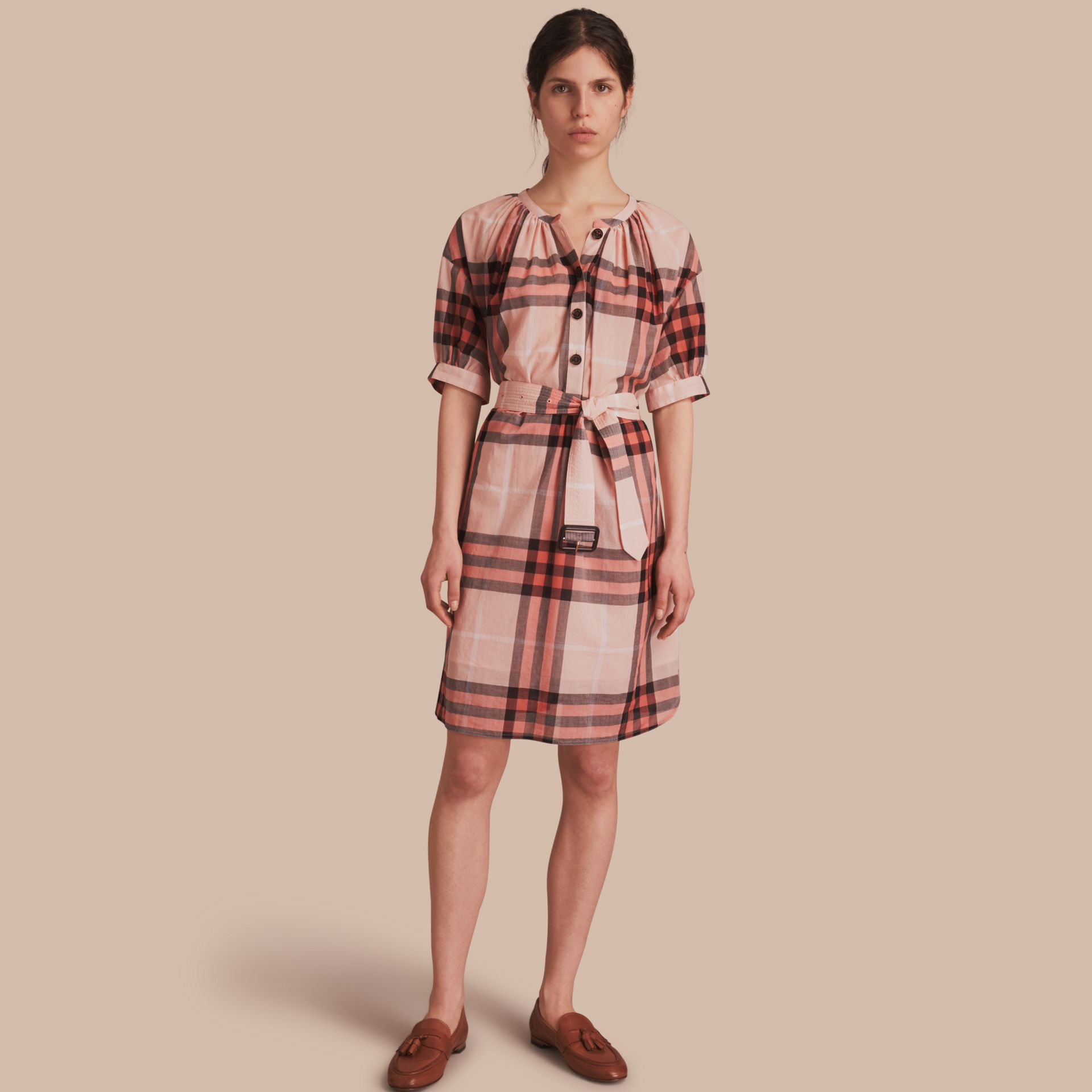 Apricot Short-sleeved Collarless Check Cotton Dress - gallery image 1