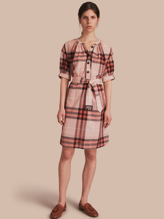 Short-sleeved Collarless Check Cotton Dress