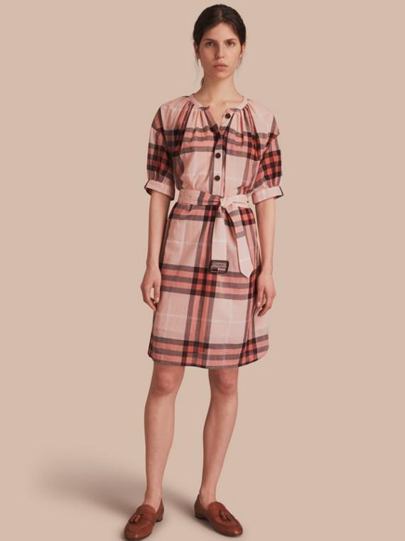 Robe sans col à manches courtes en coton à motif check