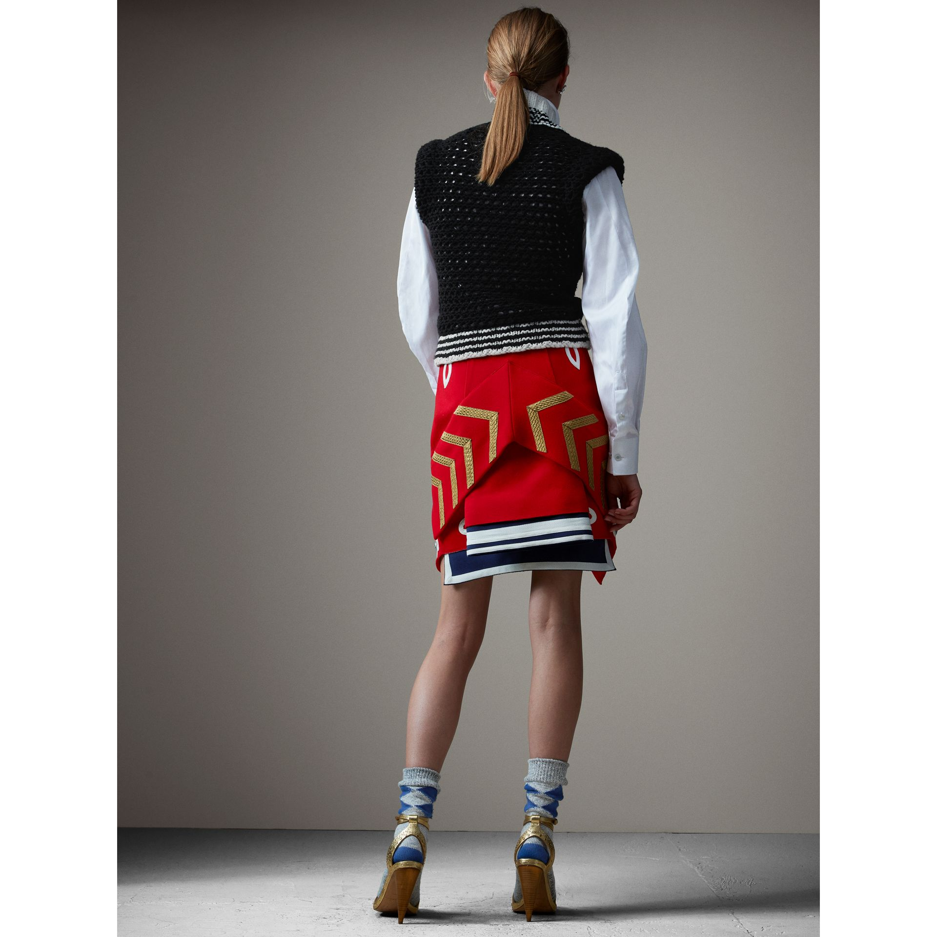 Wool Ceremonial Skirt in Military Red - Women | Burberry - gallery image 3
