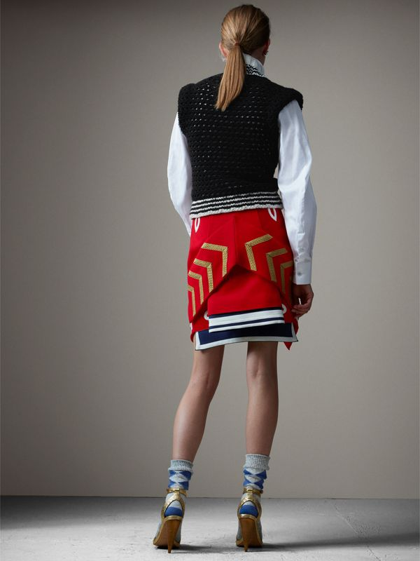 Wool Ceremonial Skirt in Military Red - Women | Burberry - cell image 2