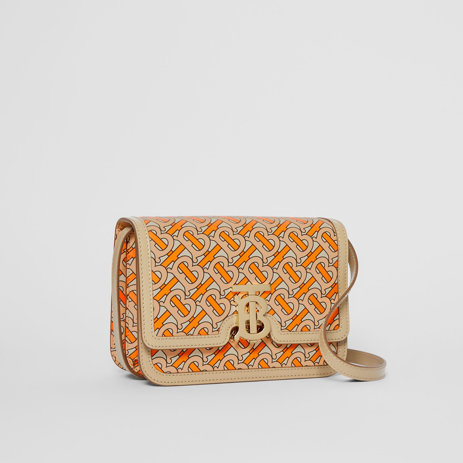 Small Monogram Print Leather TB Bag in Bright Orange - Women | Burberry - gallery image 4