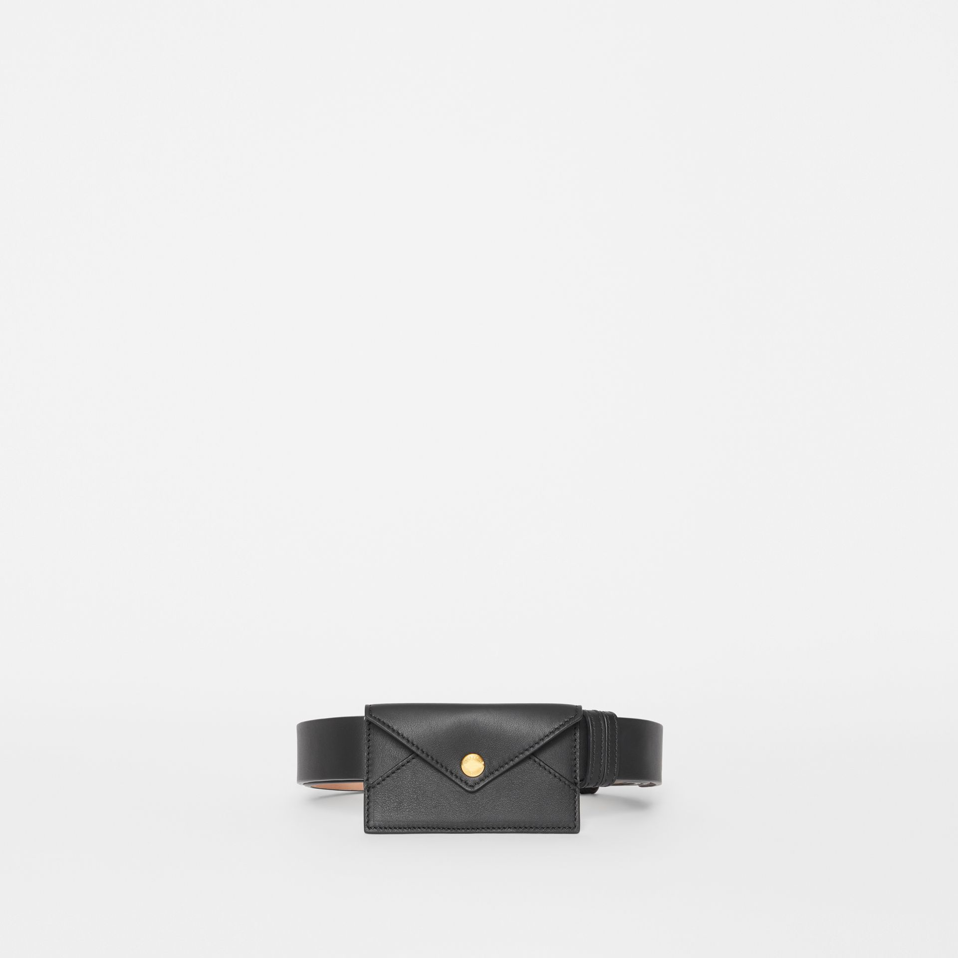 Envelope Detail Leather Belt in Black - Women | Burberry - gallery image 2