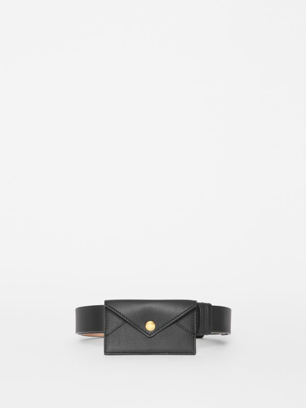 Envelope Detail Leather Belt in Black - Women | Burberry - cell image 3