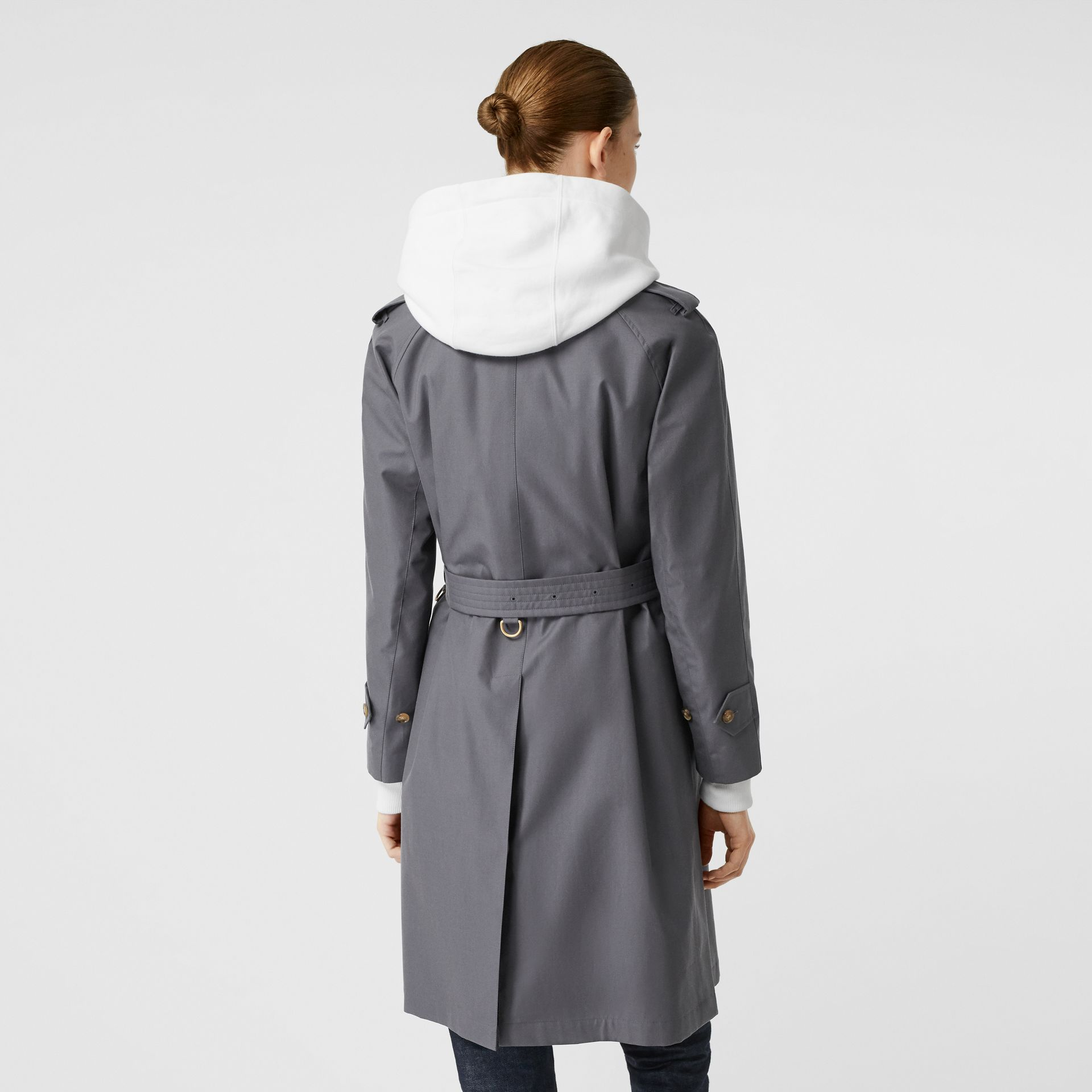 Cotton Gabardine Belted Car Coat in Mid Grey - Women | Burberry Canada - gallery image 2